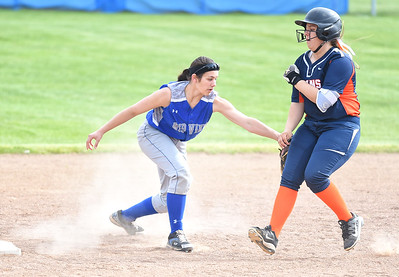 KRISTIN BAUER | CHRONICLE Midview High School second baseman Hailey Ivan (20) tags out Berea-Midpark High School's Sienna Apel (27) on Wednesday afternoon, May 10.