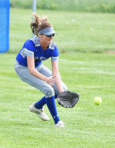 KRISTIN BAUER | CHRONICLE Midview High School right fielder Gabby Zerbini (12) fields a ground ball hit during a game against Berea-Midpark High School on Wednesday afternoon, May 10.