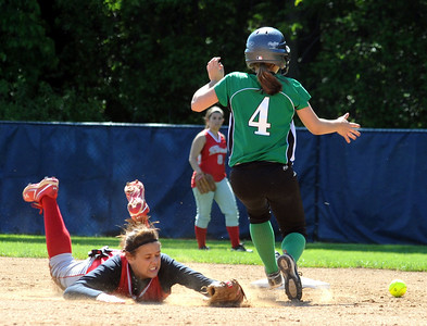 Columbia  Emma Sullivan steals second base by Loudonville Alexis Van Horn in third inning May 19.   Steve Manheim