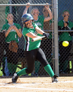 Columbia Danielle Riolo hits an RBI single in second inning May 19.   Steve Manheim
