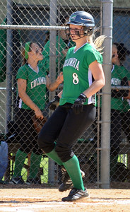Columbia Courtney Traut scores in the second inning of sectional softball May 19.   Steve Manheim