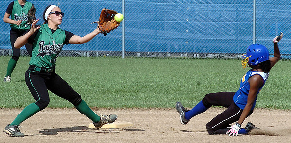 Clearview's pitcher runner #1 Talelya Jackson slides safely into second as Columbia's #2 Emily Viccarone waits for the ball.