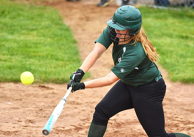 KRISTIN BAUER | CHRONICLE Elyria Catholic High School's Meghan Allegretto (6) hits a double during a game against Tuslaw on Wednesday, May 24.