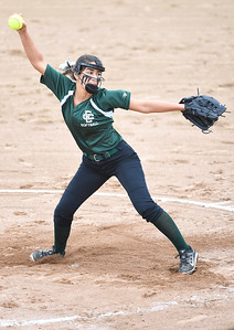 KRISTIN BAUER | CHRONICLE Elyria Catholic High School pitcher Ashley Cascio (1) pitches against Tuslaw on Wednesday, May 24.