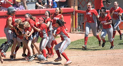 Elyria softball players celebrate winning the Division I state title on Saturday in Akron. DAVID RICHARD / CHRONICLE
