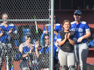 KRISTIN BAUER | CHRONICLE The Midview High School girls softball team cheers on their teammates while they are on base on Tuesday evening, May 16 during a game against Elyria.