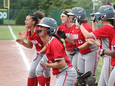 April Howser heads for the plate to her cheering teammates after her two-run homer gave Elyria a commanding lead. BRUCE BISHOP / CHRONICLE