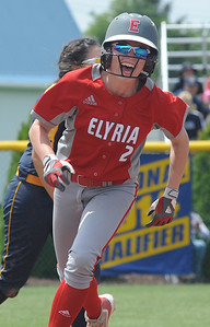 Macy Taylor rounds second after April Howser's home run in the sixth inning May 27.  STEVE MANHEIM / CHRONICLE