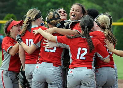 Elyria celebrates after defeating Toledo Whitmer on Saturday to advance to the Division I state softball tournament.  STEVE MANHEIM / CHRONICLE