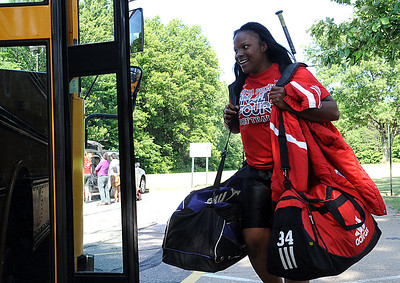 Alexis Roseboro gets on the bus for the final four in Akron on June 5.  Steve Manheim