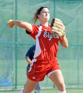 Elyria pitcher Kristen Boros makes a throw to first base May 26.  Steve Manheim