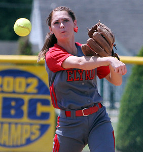 ANNA NORRIS/CHRONICLE Elyria second base Mackenzie Phares makes the quick throw to first base to get the out in the third inning against Brecksville in the Division I Regional 2 championship game at Clyde High School Saturday afternoon.