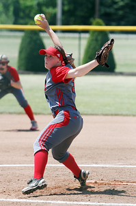 ANNA NORRIS/CHRONICLE Elyria's Elizabeth Ellis winds up to pitch against Brecksville in the second inning of the Division I Regional 2 championship game at Clyde High School Saturday afternoon.
