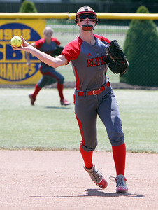 ANNA NORRIS/CHRONICLE Elyria short stop Carly Bachna makes the throw to first for the final out in the top of the sixth inning against Brecksville Saturday afternoon.