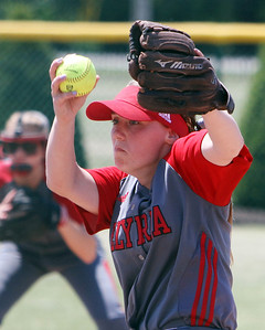 ANNA NORRIS/CHRONICLE Elyria's Elizabeth Ellis winds up to pitch against Brecksville in the fourth inning of the Division I Regional 2 championship game at Clyde High School Saturday afternoon.
