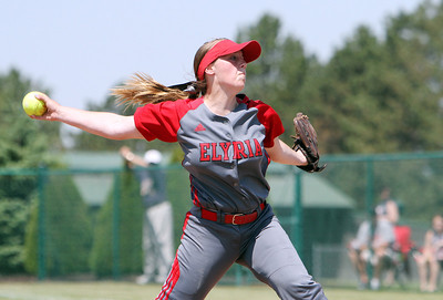 ANNA NORRIS/CHRONICLE Elyria's Elizabeth Ellis winds up to pitch against Brecksville in the first inning of the Division I Regional 2 championship game at Clyde High School Saturday afternoon.