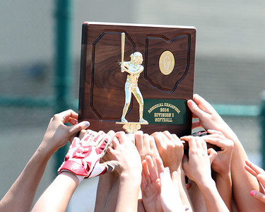 ANNA NORRIS/CHRONICLE The Elyria Lady Pioneers softball team lift their Division I regional championship trophy high in the air after their 4-0 win over Brecksville Saturday.