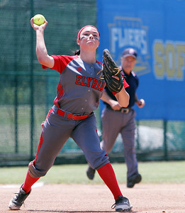 ANNA NORRIS/CHRONICLE Elyria third base Dierra Hammons makes the throw to first for the out against Brecksville in the fourth inning of the Division I Regional 2 championship game at Clyde High School Saturday afternoon.