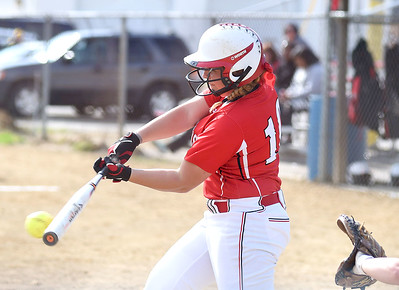 KRISTIN BAUER | CHRONICLE Firelands High School's Hailey Blankenship (10) knocks in an RBI during a game against Brookside on Tuesday evening, May 3.