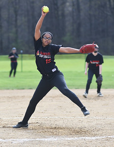 KRISTIN BAUER   CHRONICLE Brookside High School pitcher Ashley Wallace (15) pitches against Firelands High School on Tuesday evening, May 3.