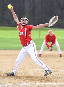 KRISTIN BAUER | CHRONICLE Firelands High School pitcher Sam Hribal (3) pitches against Brookside High School on Tuesday evening, May 3.
