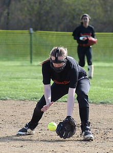 KRISTIN BAUER | CHRONICLE Brookside High School second baseman Haley Thermascek (28) fields a ground ball during a game against Firelands High School on Tuesday evening, May 3.
