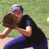 Keystone's Madi Cendrosky watches the ball at first base in the game against Ross at Akron. BRUCE BISHOP/CHRONICLE