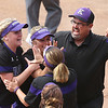 Keystone coach Jim Piazza celebrates with his team after a great play in the first inning of a state semifinal game Friday, June 3. BRUCE BISHOP/CHRONICLE