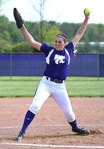 KRISTIN BAUER | CHRONICLE   Keystone High School pitcher Lauren Shaw (8) pitches against Cloverleaf on Wednesday afternoon, May 18 during a district softball final.