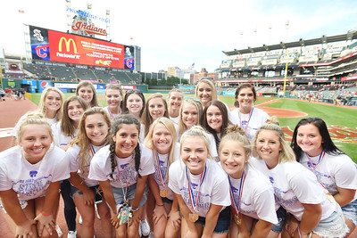 Keystone softball team honored before Indians game