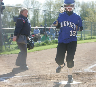 27APR10  Mencke hits in #13 Miller for Midview in a 13-0 route over N. Ridgeville.  photo by Chuck Humel