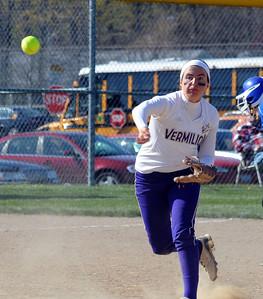 Vermilon's Katelynn Urgo makes a put out in first inning.  Steve Manheim