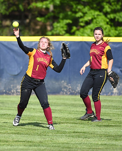 KRISTIN BAUER | CHRONICLE Avon Lake High School center fielder Molly Anderjak (1) makes a play in center field with backup from teammate and right fielder Sydney Petonic 24) on Tuesday afternoon, May 9 during a game against Olmsted Falls.