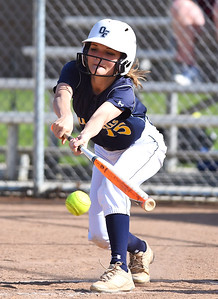 KRISTIN BAUER | CHRONICLE Olmsted Falls High School center fielder Peyton Bielski (15) bats against Avon Lake High School on Tuesday afternoon, May 9.
