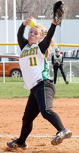 Amherst's pitcher #11 Jennifer Sutton