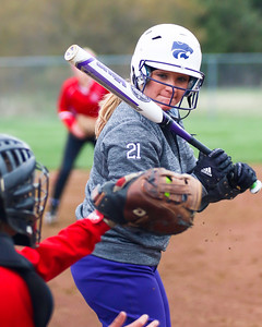 Keystone's Destiny Weber looks a pitch into the catcher's mitt during a game against Firelands on Monday. JOE COLON/CHRONICLE
