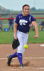 Keystone's Lauren Shaw delivers a pitch Sunday afternoon during regional softball finals at Bucyrus. BILL KEATON/CHRONICLE