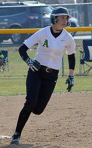 Amherst's Ashlee Dahman rounds second base on an inside-the-park two-run homer.  STEVE MANHEIM/CHRONICLE