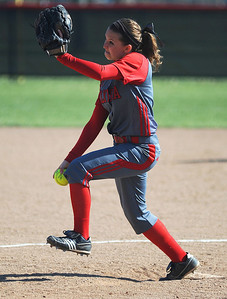 Elyria's Ashley Olszewski pitches against Brunswick on Tuesday, April 23. KRISTIN BAUER | CHRONICLE