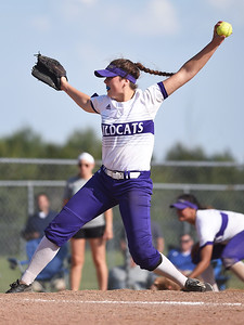 KRISTIN BAUER | CHRONICLE Keystone High School pitcher Lauren Shaw (8) pitches against Holy Name on Thursday evening, May 18.