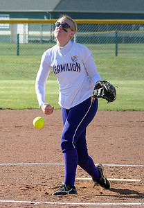 Vermilion Jessica Tucker pitches on Apr. 4 .   Steve Manheim