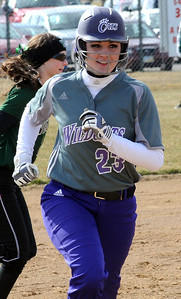 Keystone Carleigh Herrington hit a solo home run in first inning Aprl 2.  Steve Manheim