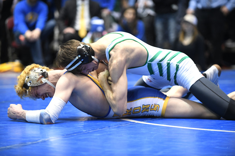 Ryan Patterson | The Sheridan Press<br /> Sheridan's Tyler Combridge, bottom, wrestles Green River's Jacob Weipert during the Wyoming High School State Wrestling Championships at the Casper Events Center Saturday, Feb. 23, 2019. The Broncs took eighth place as a team in 4A with 131 points.