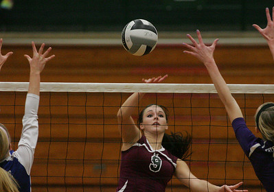 #9 Megan Brasee of Welllington spikes the ball.        photo by Chuck Humel