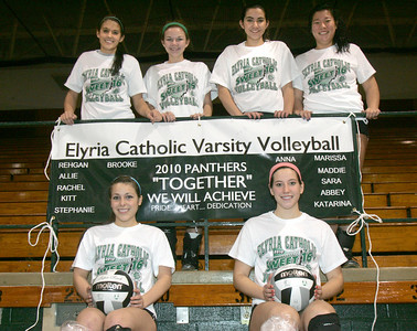 Sweet 16 and Seniors? You bet, because these Elyria Catholic Seniors are advancing to the Volleyball Sweet 16. Center left is Brooke Dungan, center right is Anna McNeeley, co-captains; then left to right Rehgan Avon, Allie Dumski, Marissa Garcia and Maddie Moffatt, far right.     photo by Chuck Humel