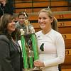 16NOV112011 Lorain County All Star Volleyball,  Miss Volleyball 2011 is Sara Kaminski of Elyria Catholic.  #3 Arrianna Cumberledge congratulates her;          photo by Chuck Humel