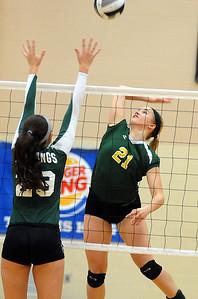 Amherst's Mallory Sliman hits over Strongsville's Hannah Mott. STEVE MANHEIM/CHRONICLE