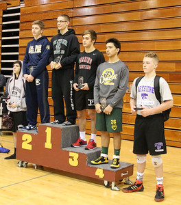 Elyria Catholic's Robbie Cobb placed 1st in the 138lb weight class at the Knights of Columbus meet (2nd Place - Drew Hoffman from Columbian, 3rd Place Jacob Maslyk from Perkins, 4th Place Xavier Volak from Amherst, 5th Place Clay Todd from Keystone and 6th Place Gage Conrad from Wellington). CHRISTY LEGEZA / CHRONICLE