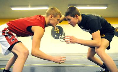 Sebastian Vidika, left, and Mike Hozan are returning state qualifiers for Black River wrestling, in the team wrestling room on Dec. 6.  Steve Manheim