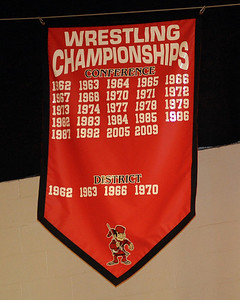 Wrestling championships banner hangs in Elyria High gym Jan. 30.  Steve Manheim